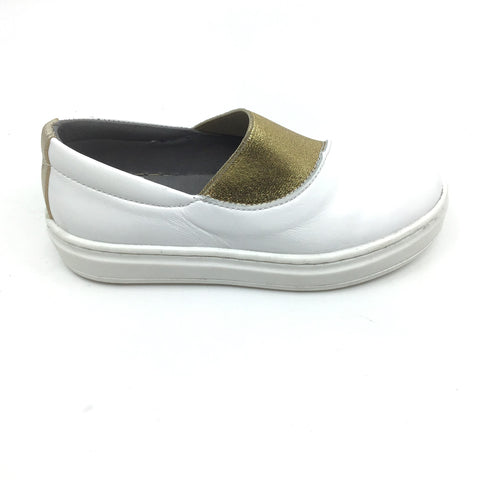Blublonc White Sneaker with Gold Shimmer Elastic