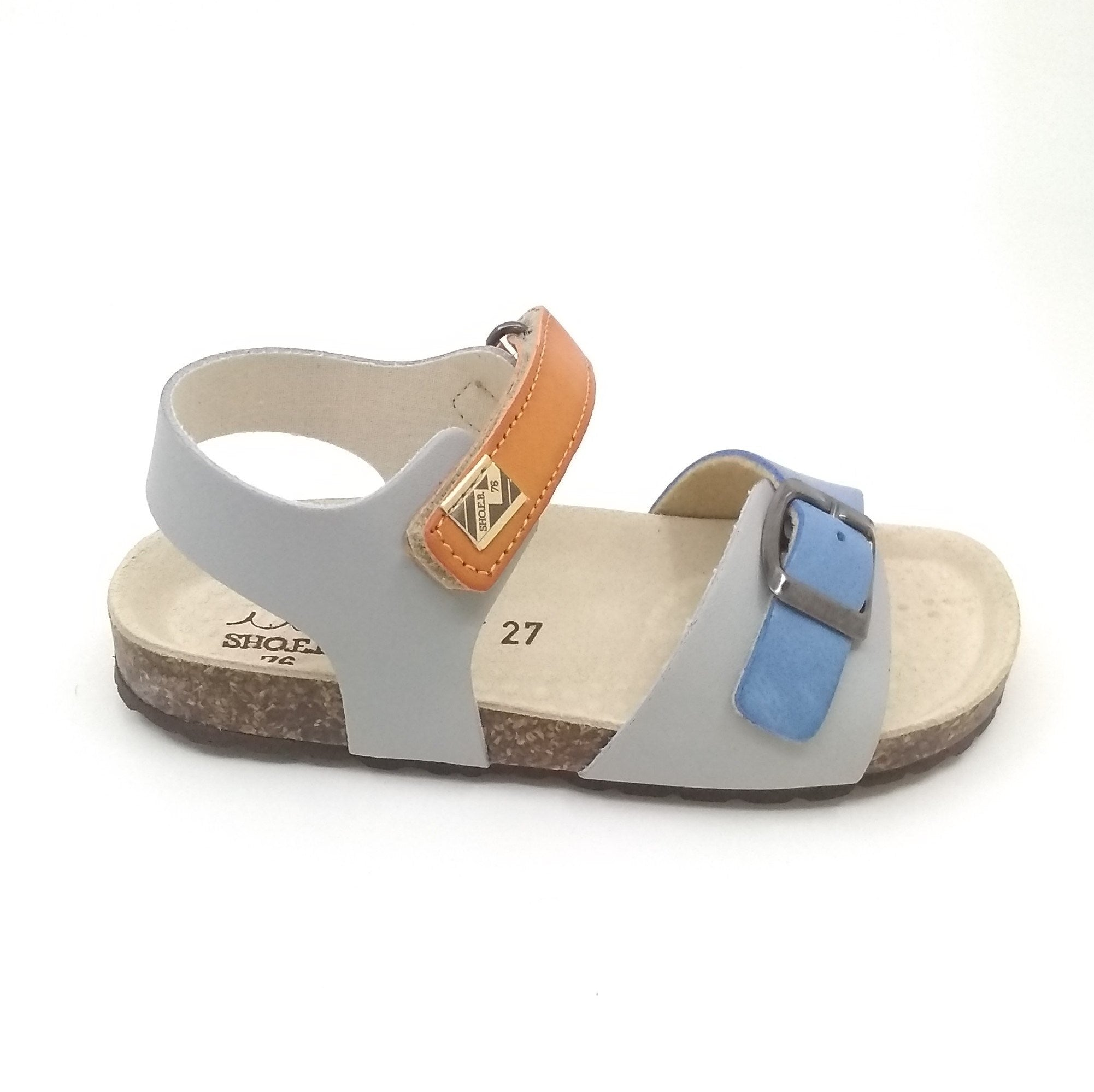ShoeB76 Gray Sandal with Orange and Blue Straps