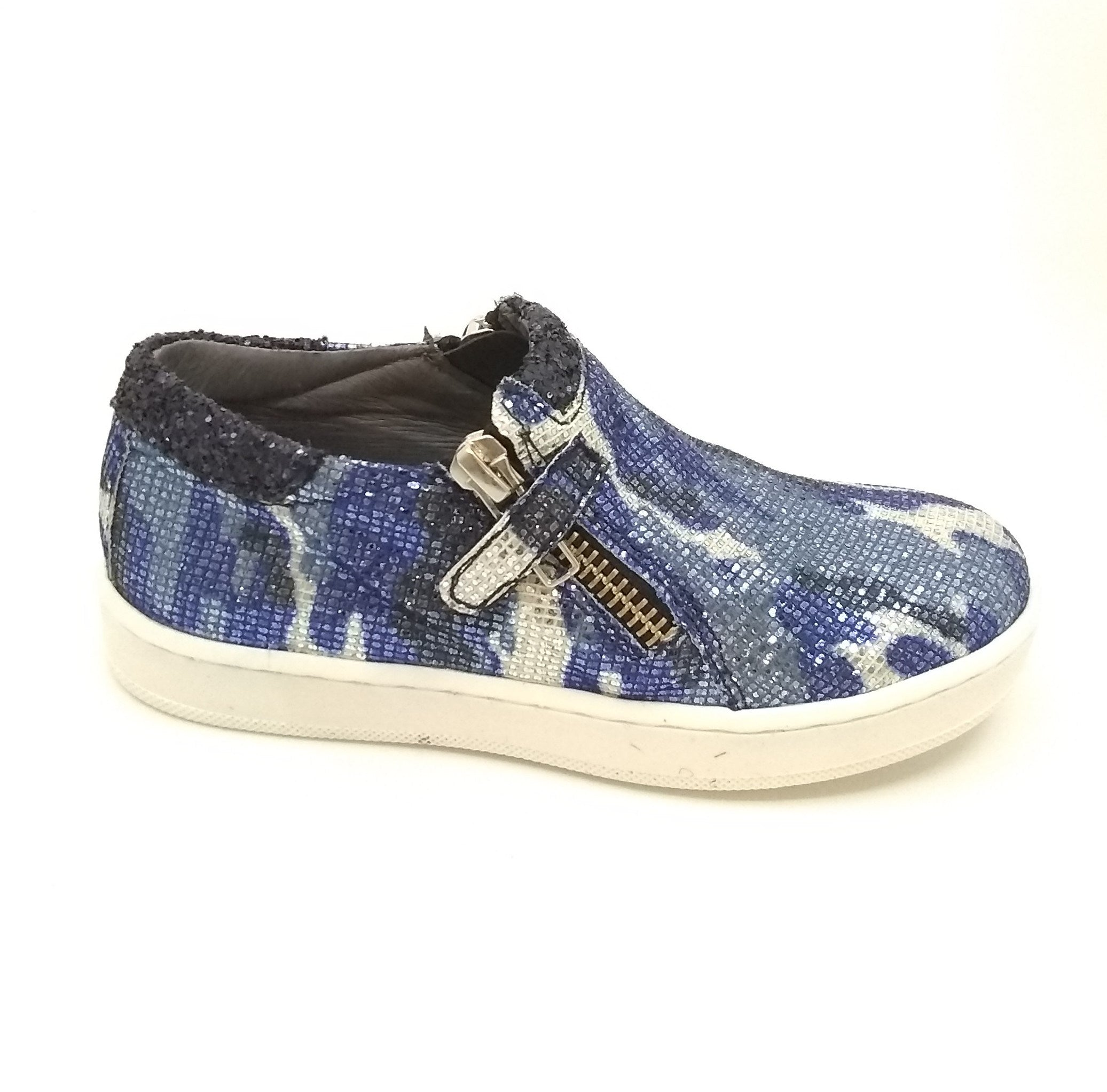 Blublonc Blue Double Zipper Sparkly Sneaker