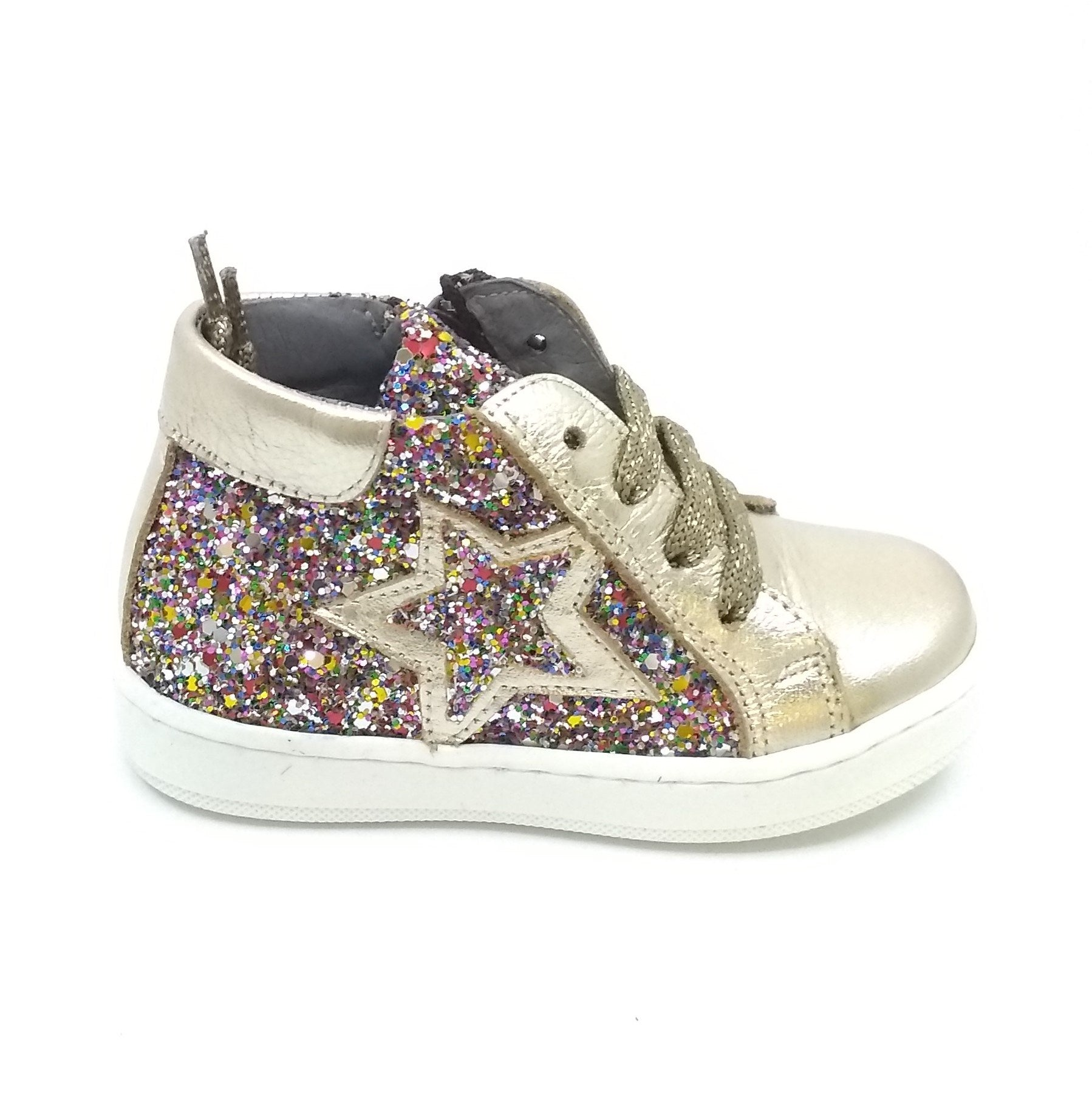 c6a8b19112 Blublonc Multi Colored Sparkly Sneaker with Gold Trim and Star