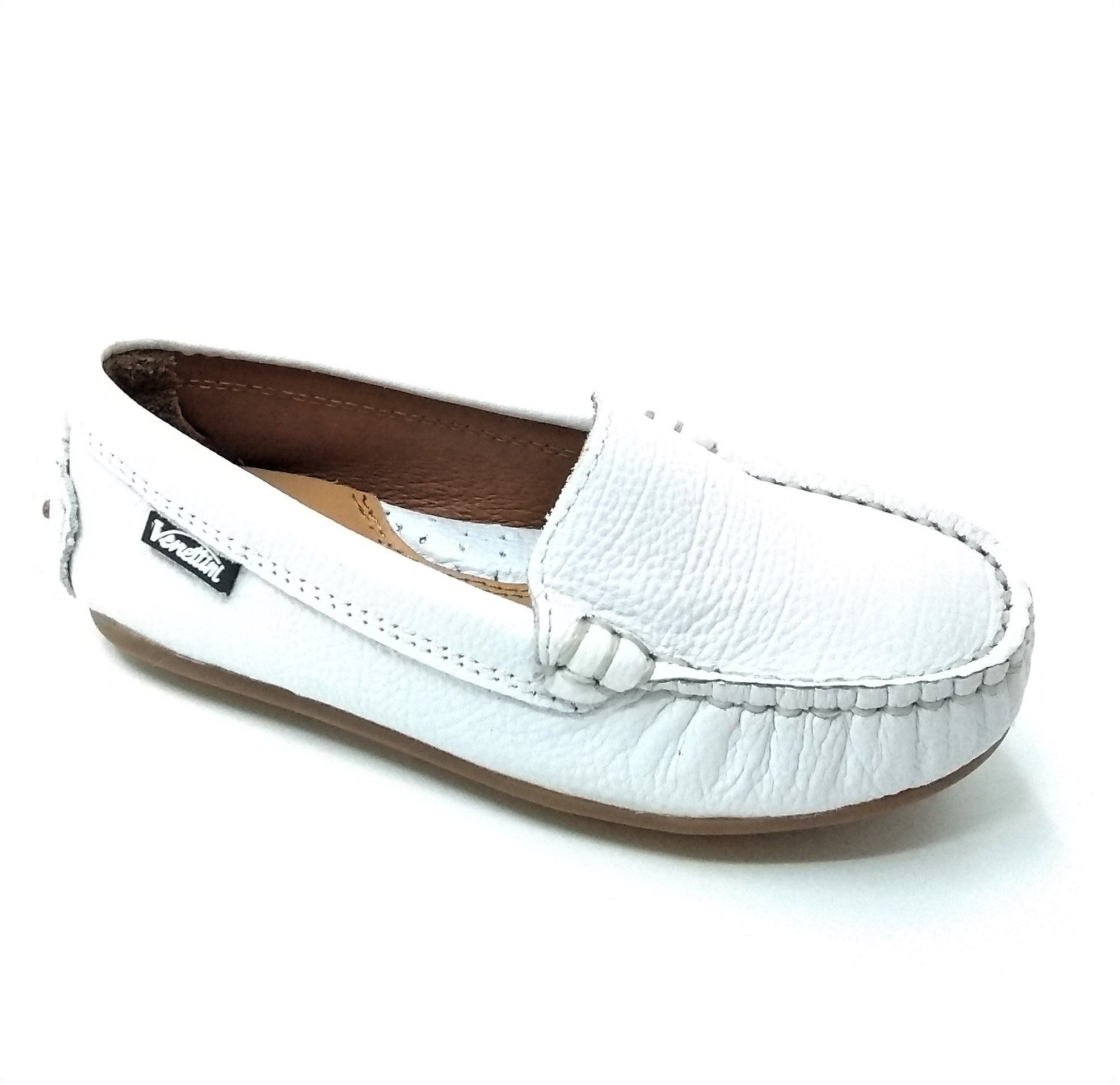 Venettini White Leather Moccasin