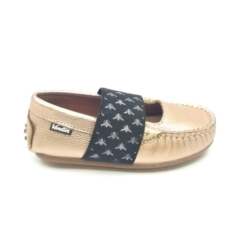 Venettini Gold Shoe with Black Bee Strap