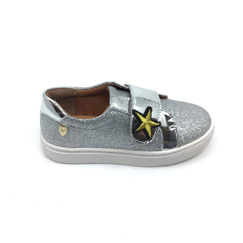 Venettini Silver Velcro Shoe with Gold Star
