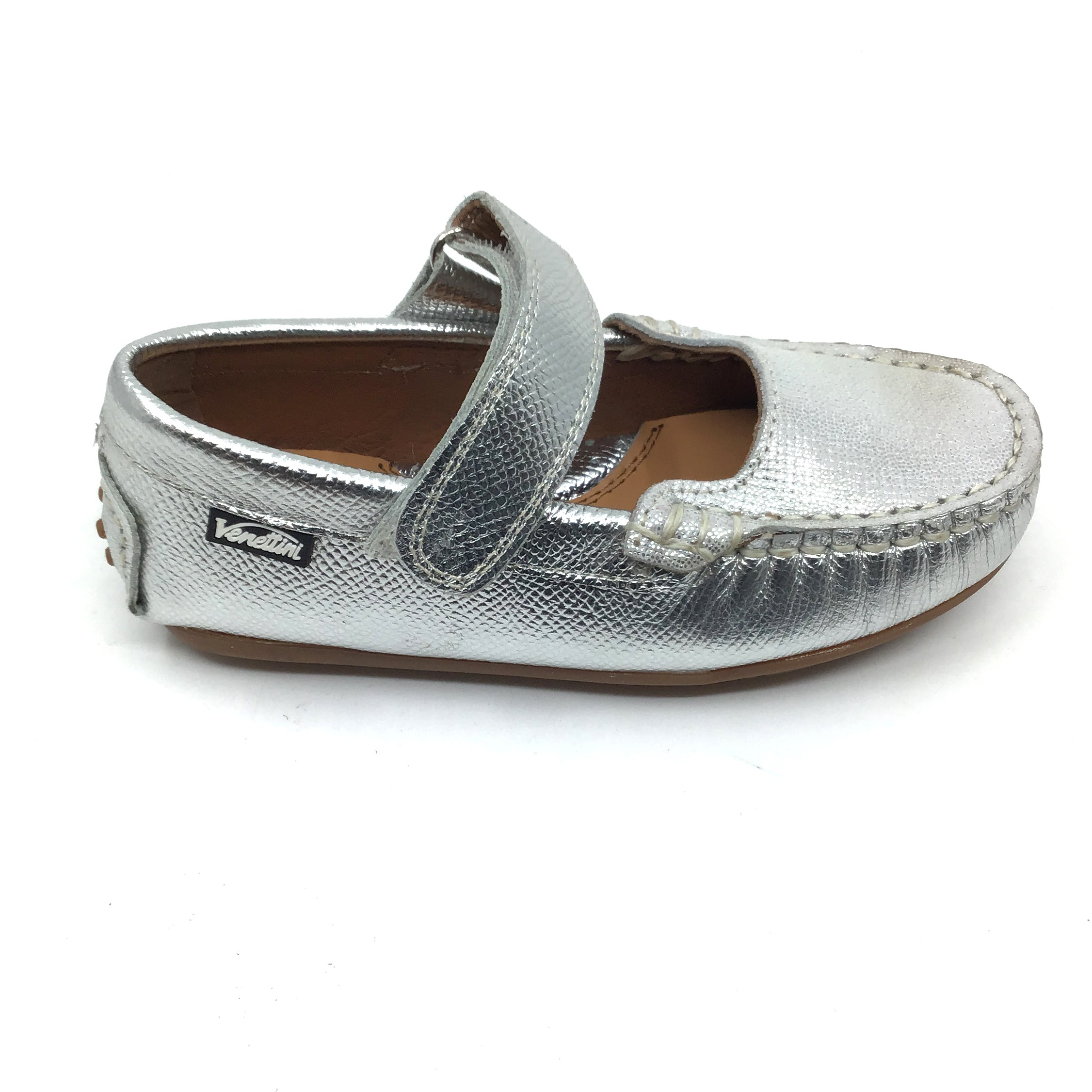 Venettini Silver Velcro Shoe with Front Texture