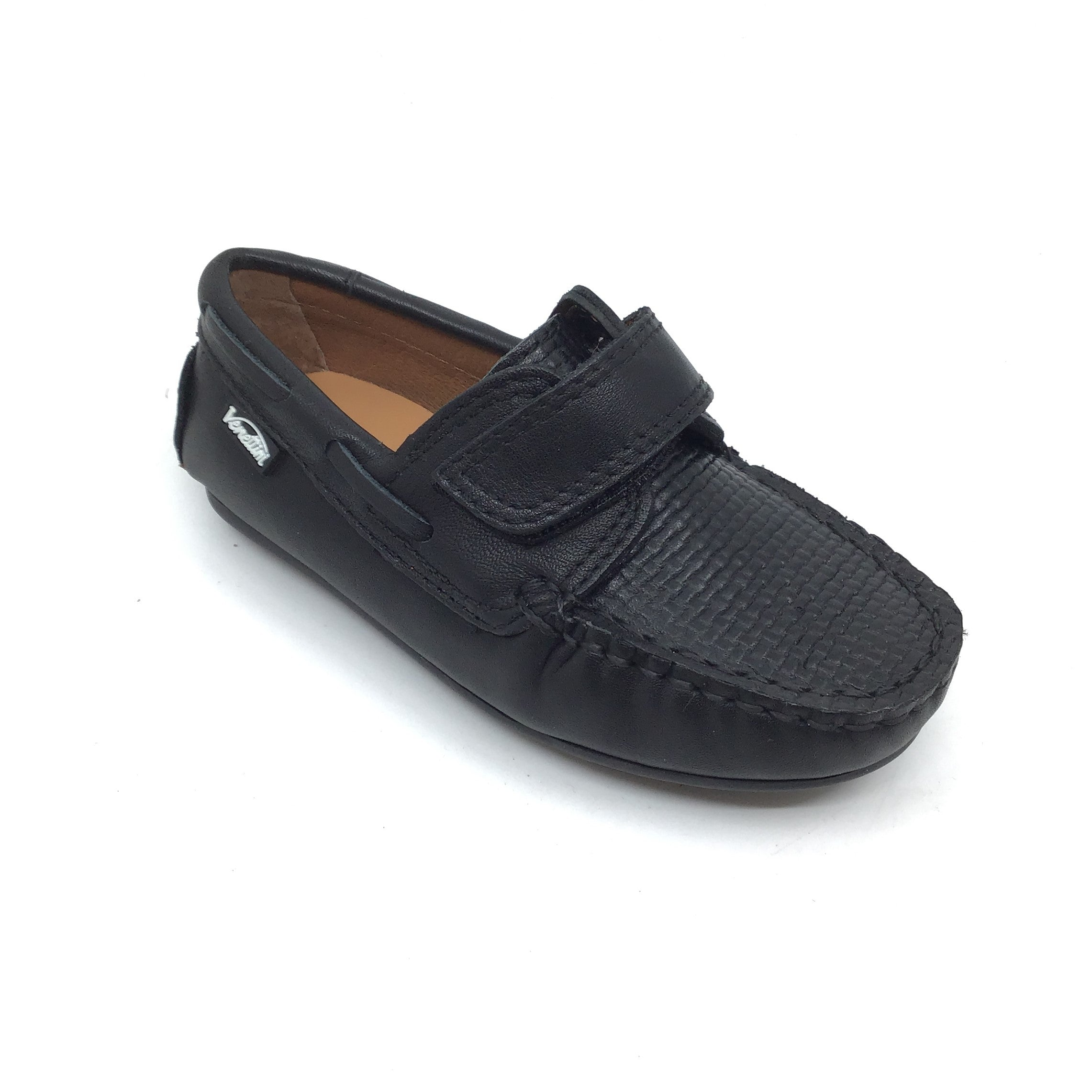 Venettini Black Velcro Loafer with Front Texture