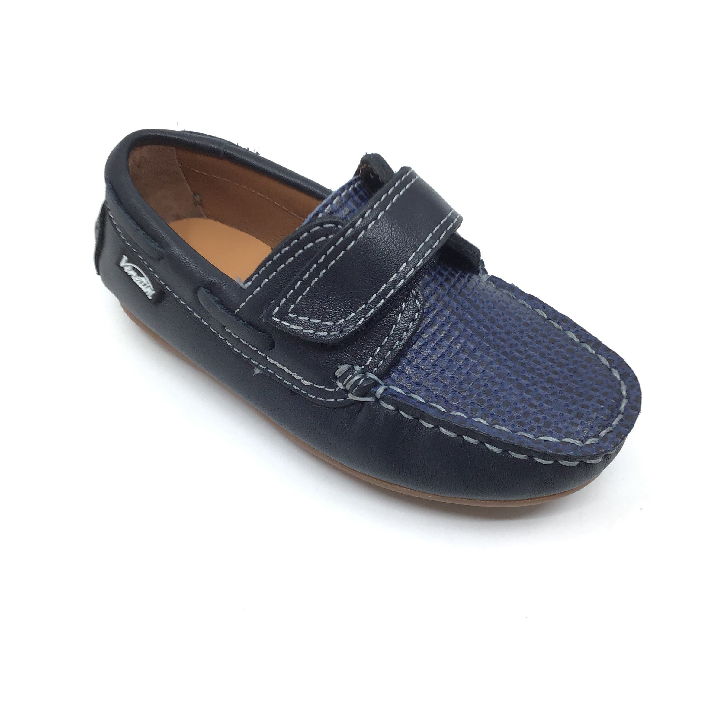 Venettini Blue Velcro Loafer with Front Texture