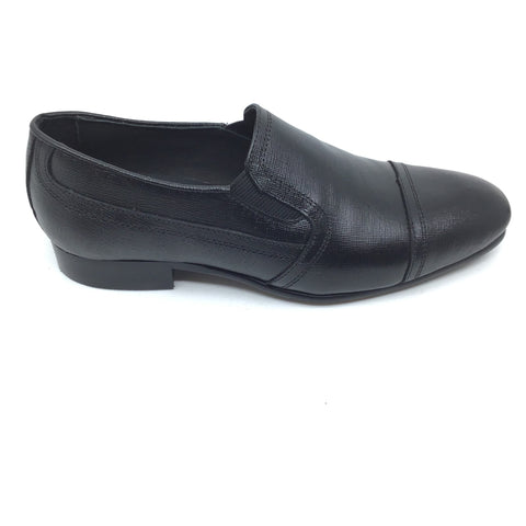 Venettini Black Textured Dress Shoe with Cap Toe
