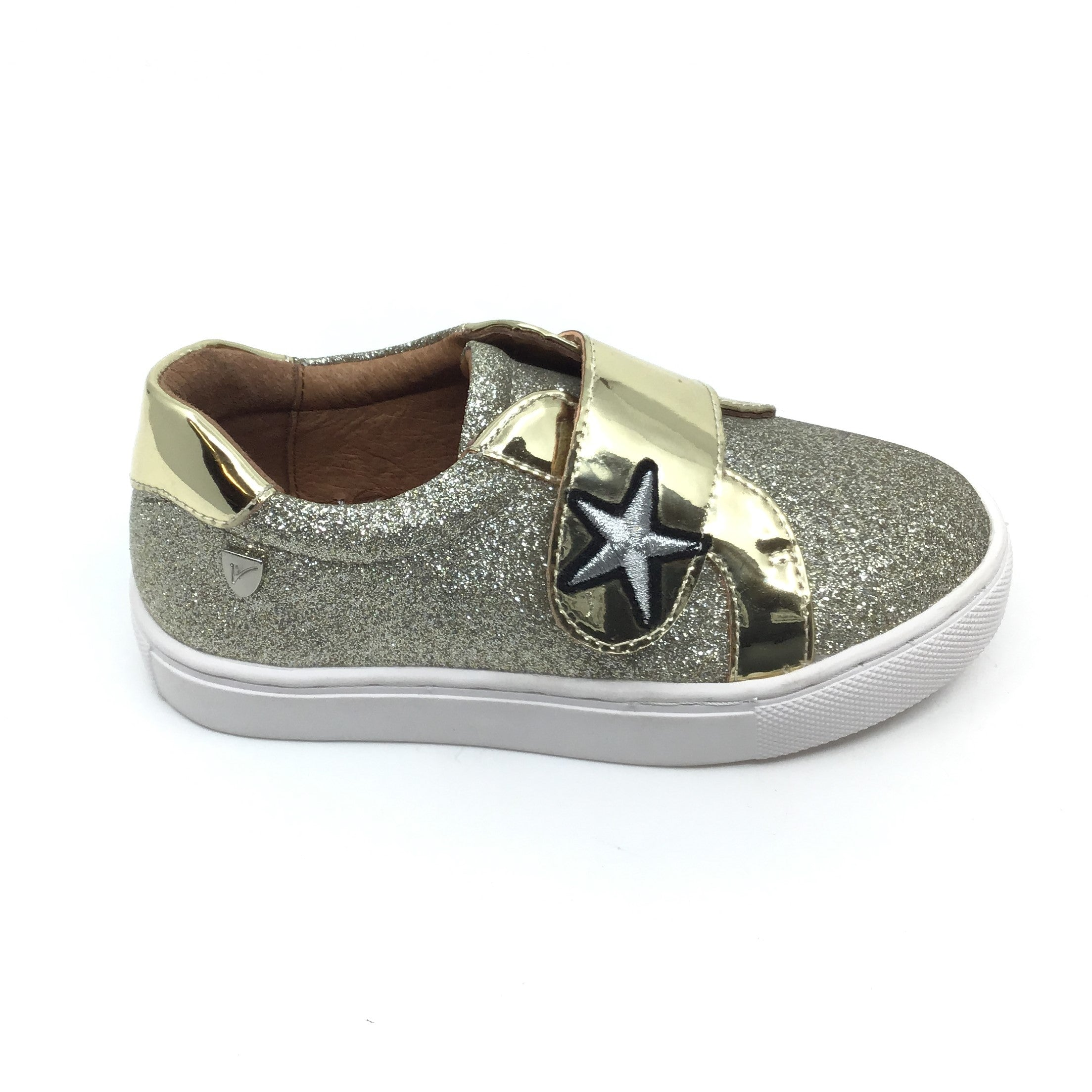 Venettini Gold Velcro Shoe with Silver Star