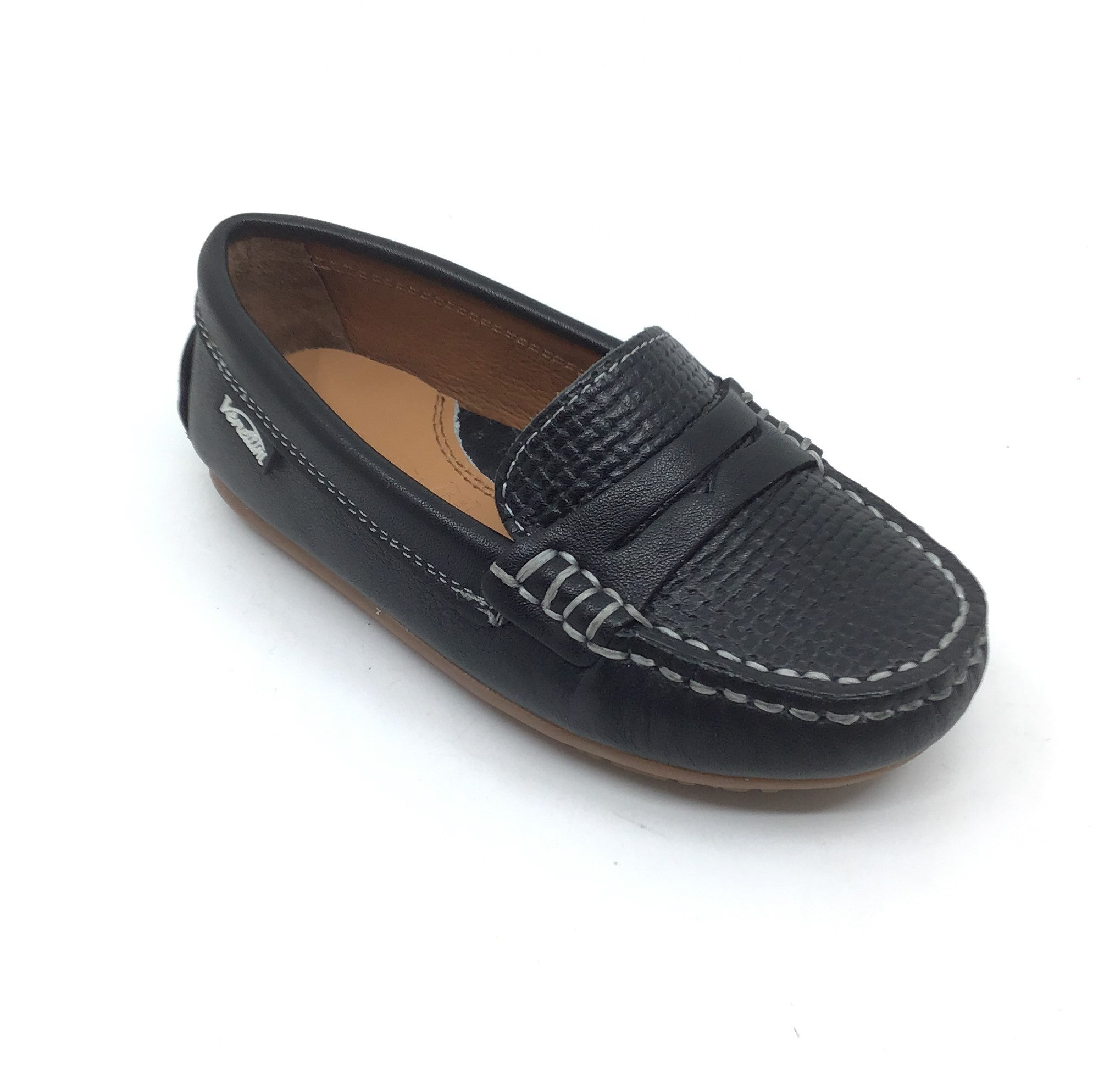 Venettini Black Penny Loafer with Front Texture