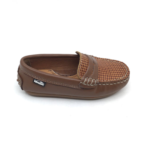 Venettini Brown Penny Loafer with Front Texture