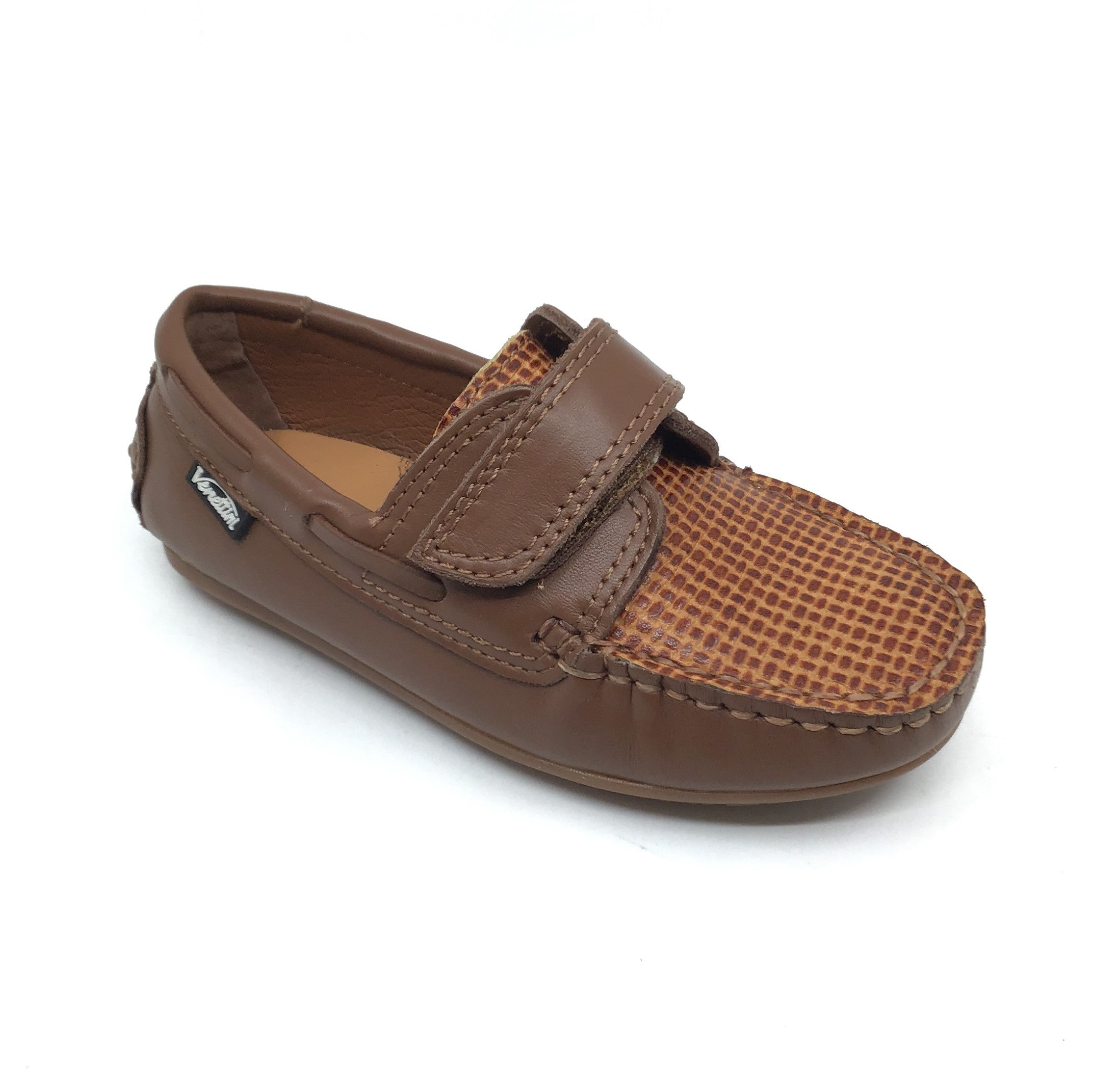 Venettini Brown Velcro Loafer with Front Texture