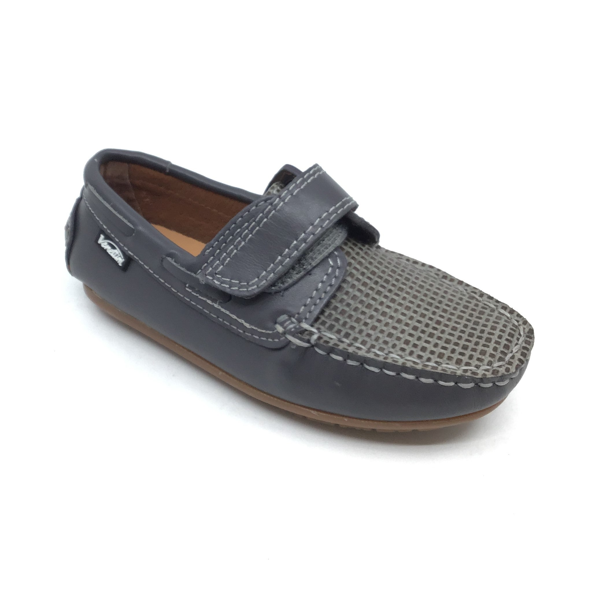 Venettini Gray Velcro Loafer with Front Texture