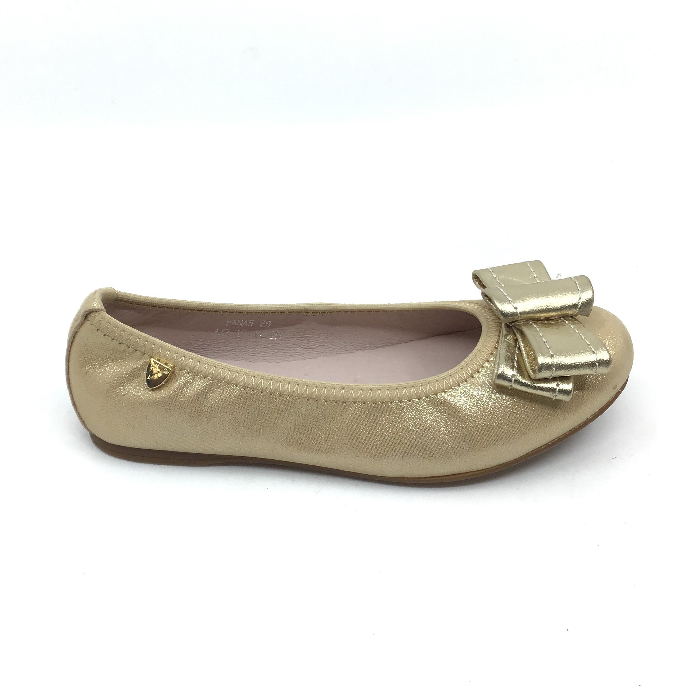 Venettini Gold Ballet Shoe with Bow