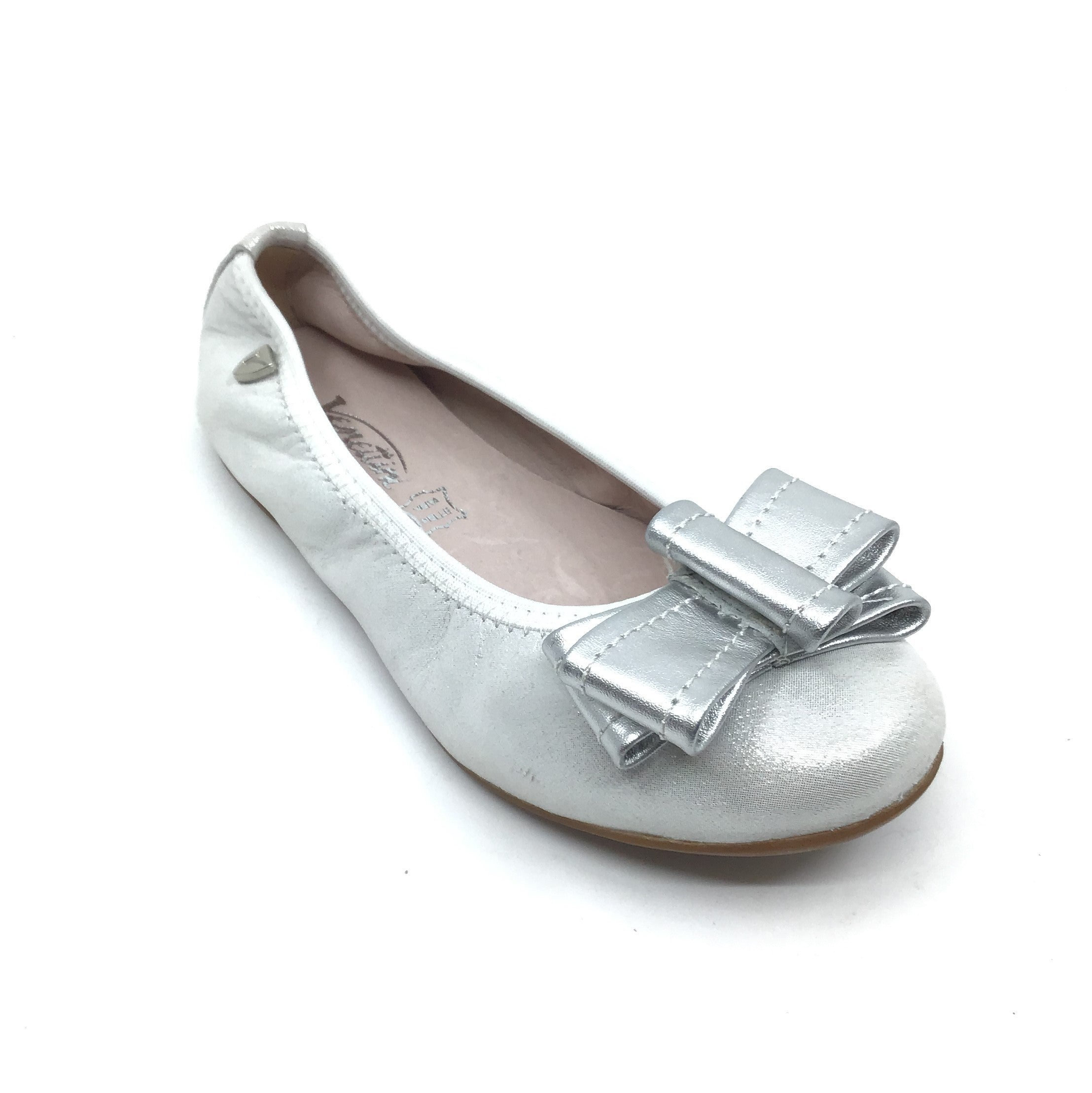 Venettini Silver Ballet Shoe with Bow