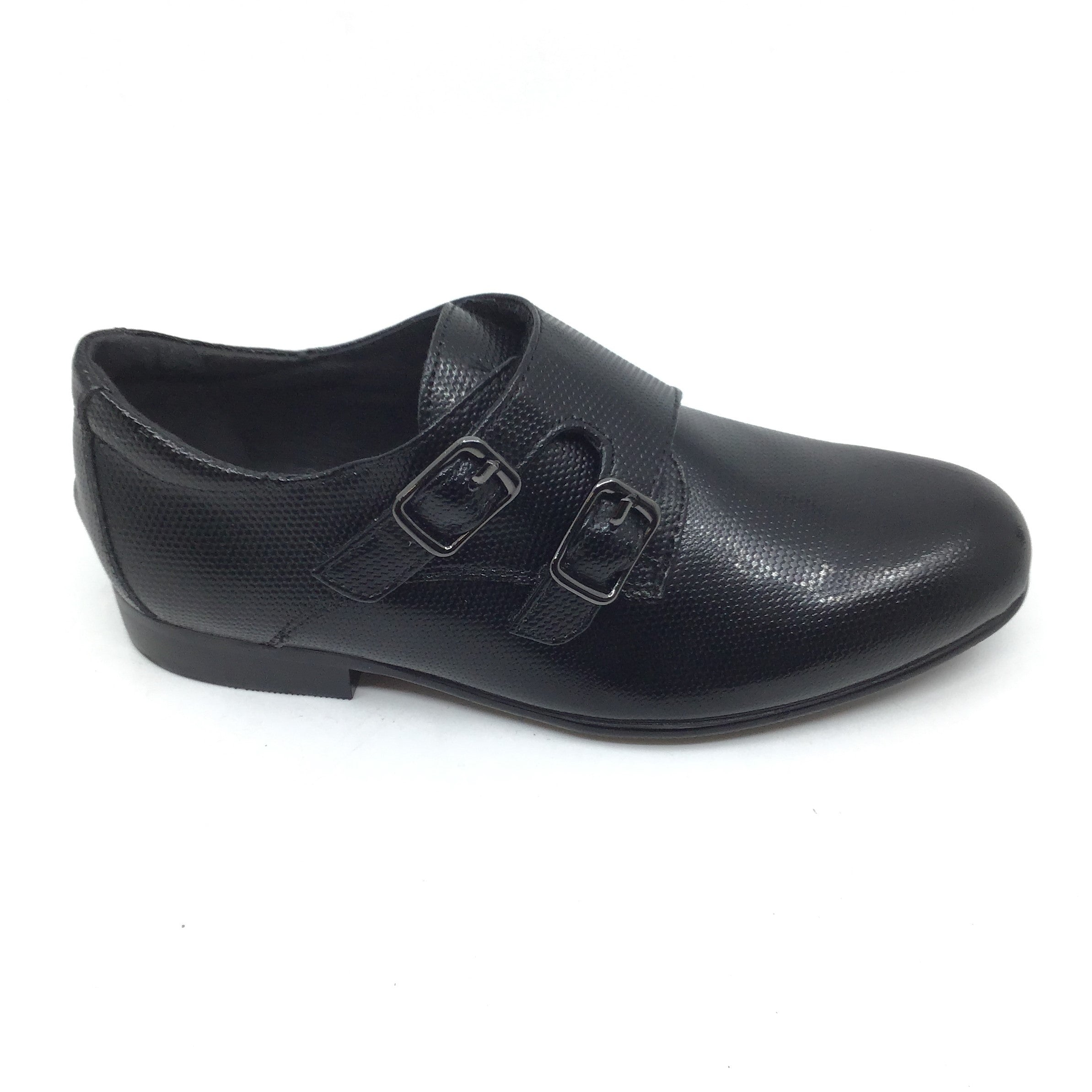 Venettini Black Textured Leather with Double Buckle