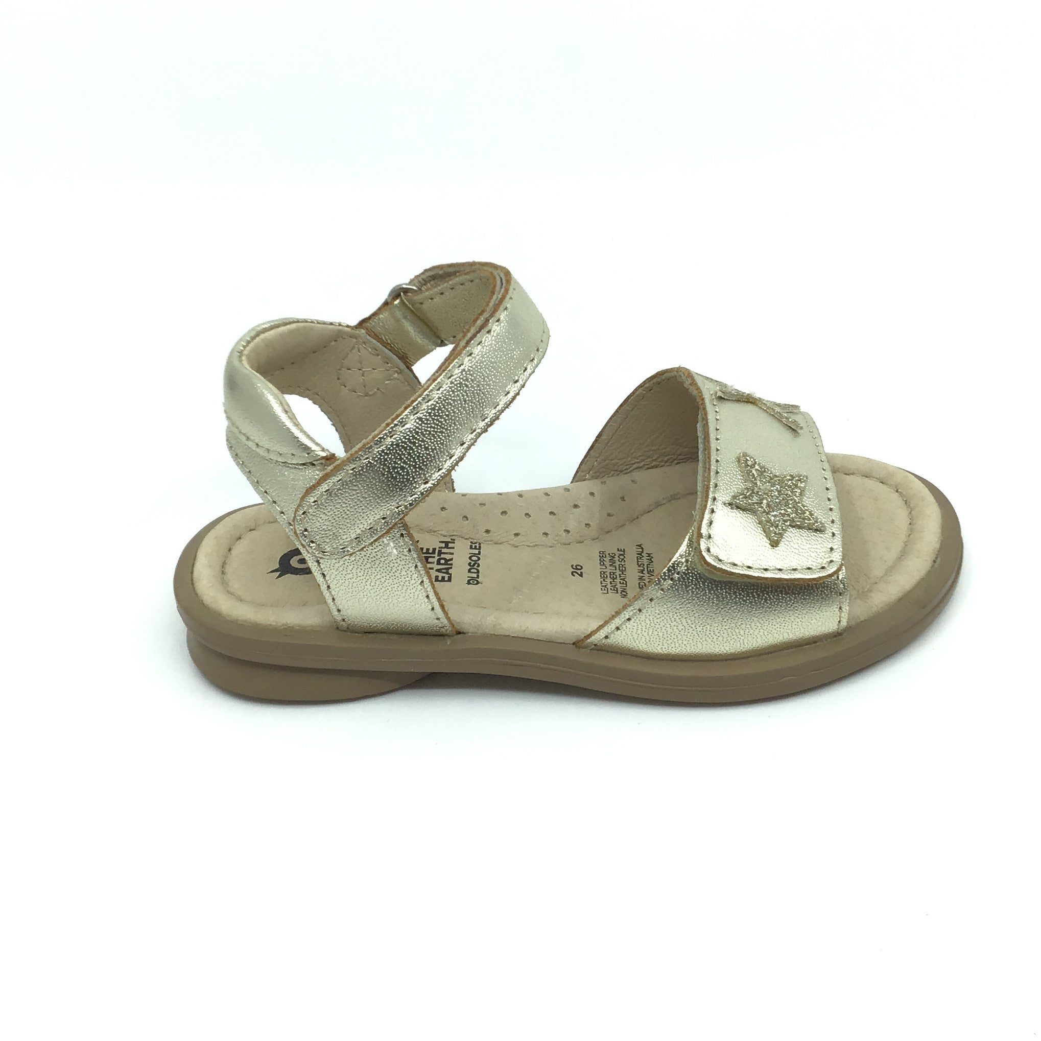 Old Soles Gold Velcro Sandal with Stars