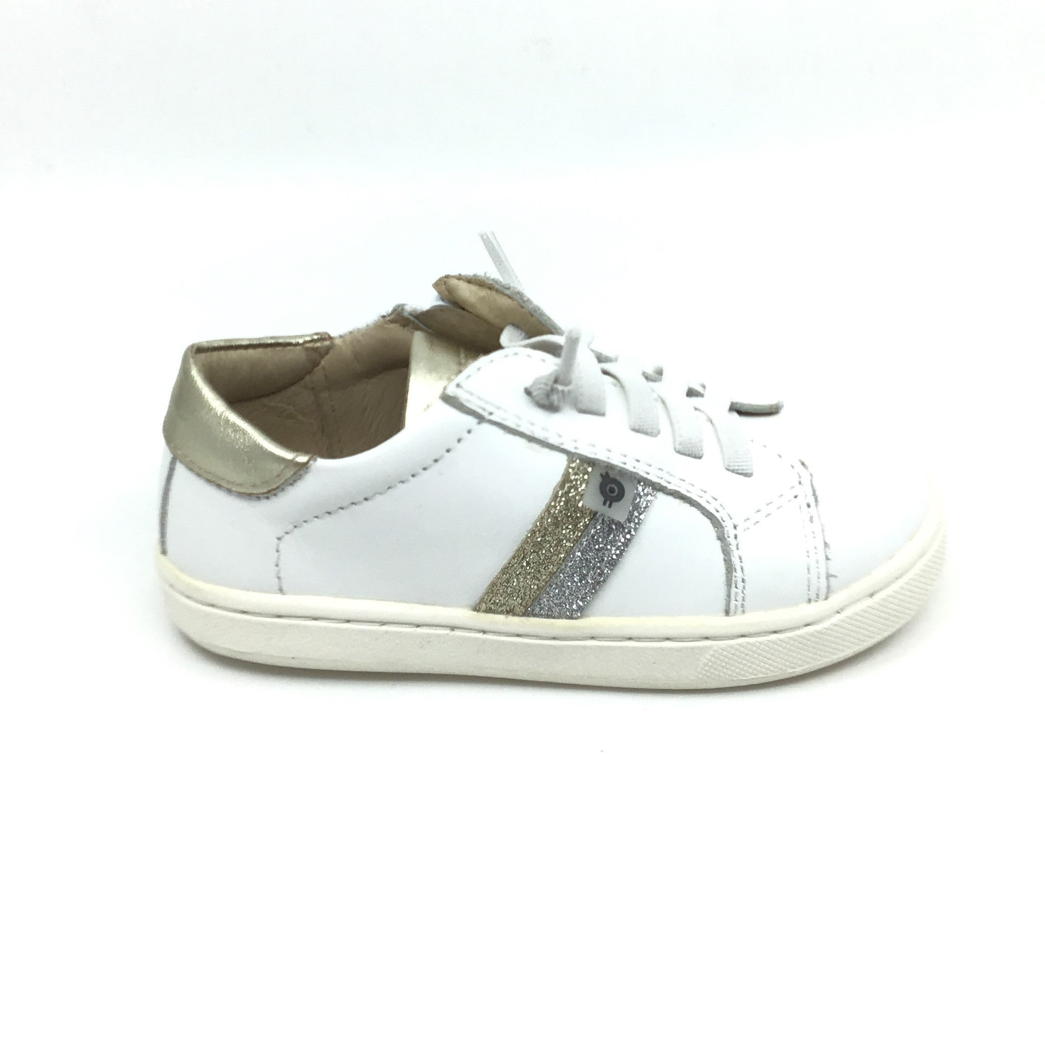 Old Soles White Laced Sneaker with Gold Stripe