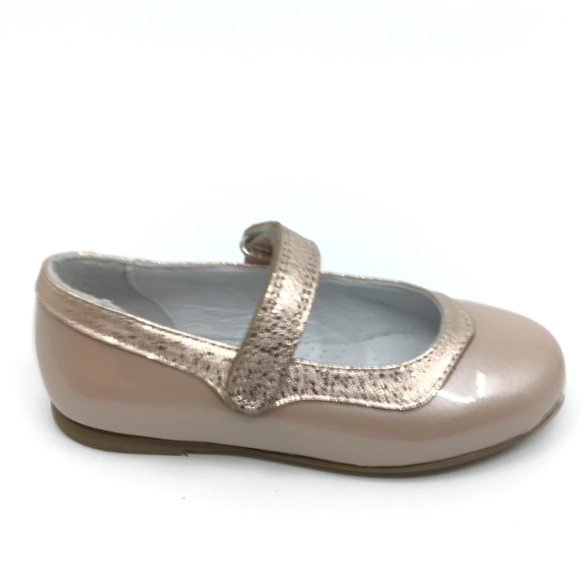 Zapeti Beige Mary Jane with Gold Trim
