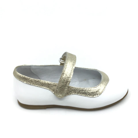 Zapeti White Mary Jane with Gold Trim