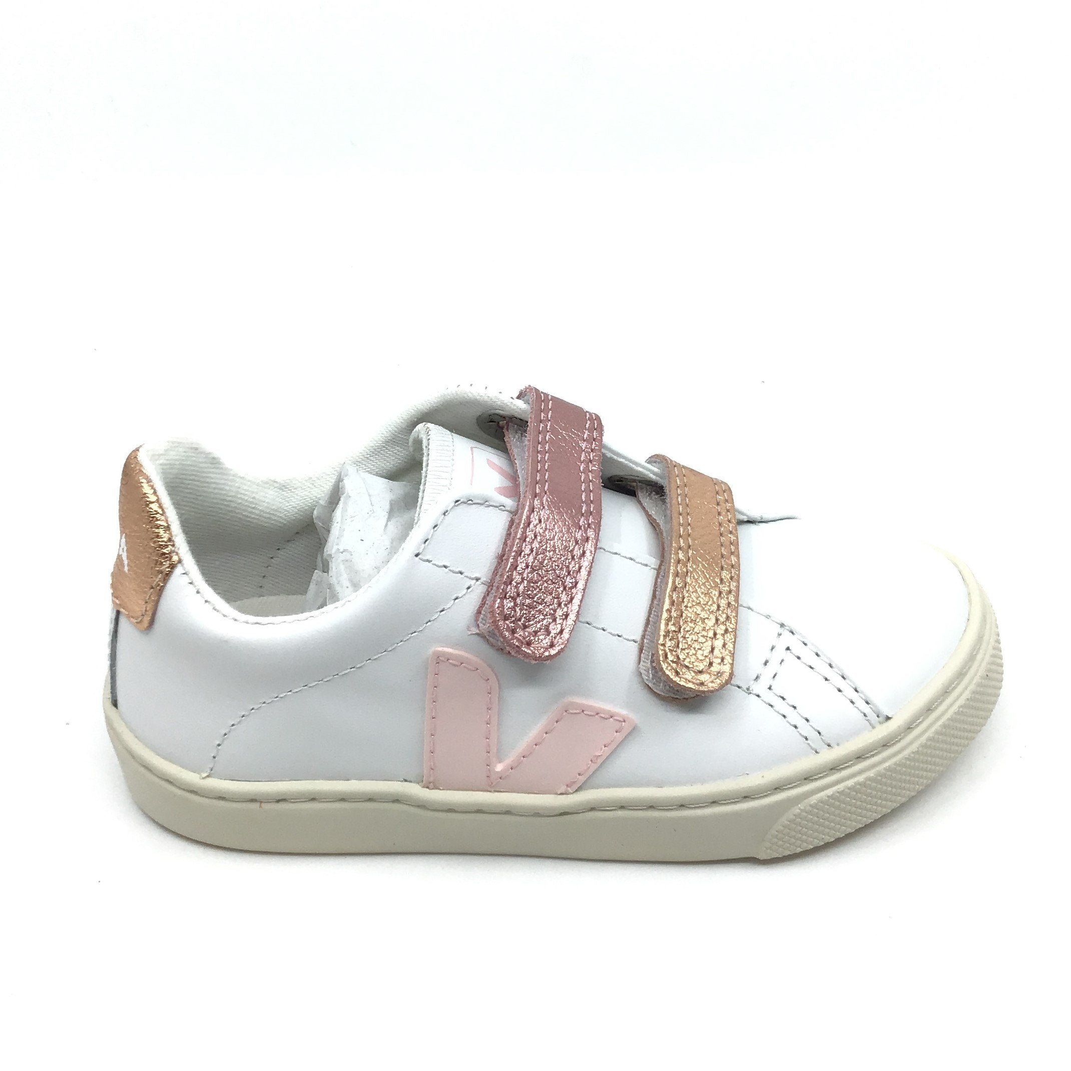 Veja White Sneaker with Gold Velcro