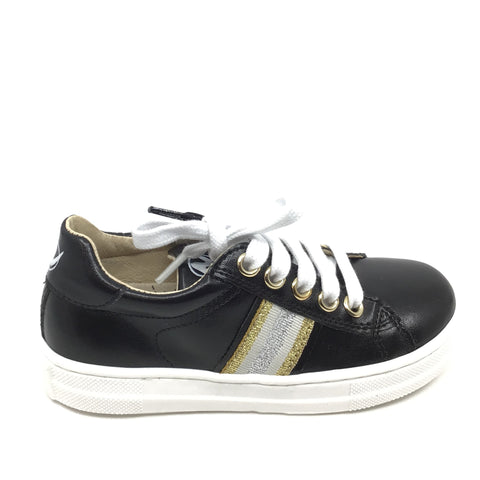 Naturino Black Lace Up Sneaker with Gold Trim