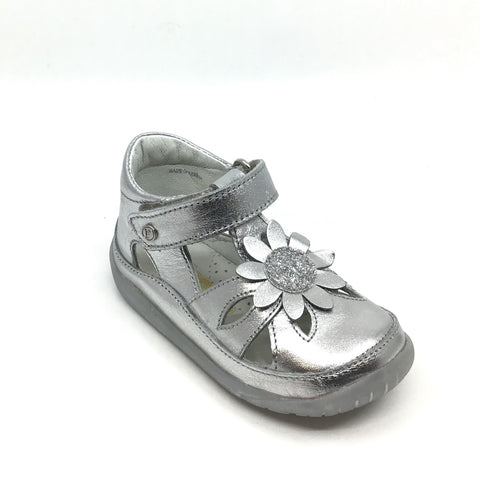 Falcotto Silver Velcro Sandal with Flower
