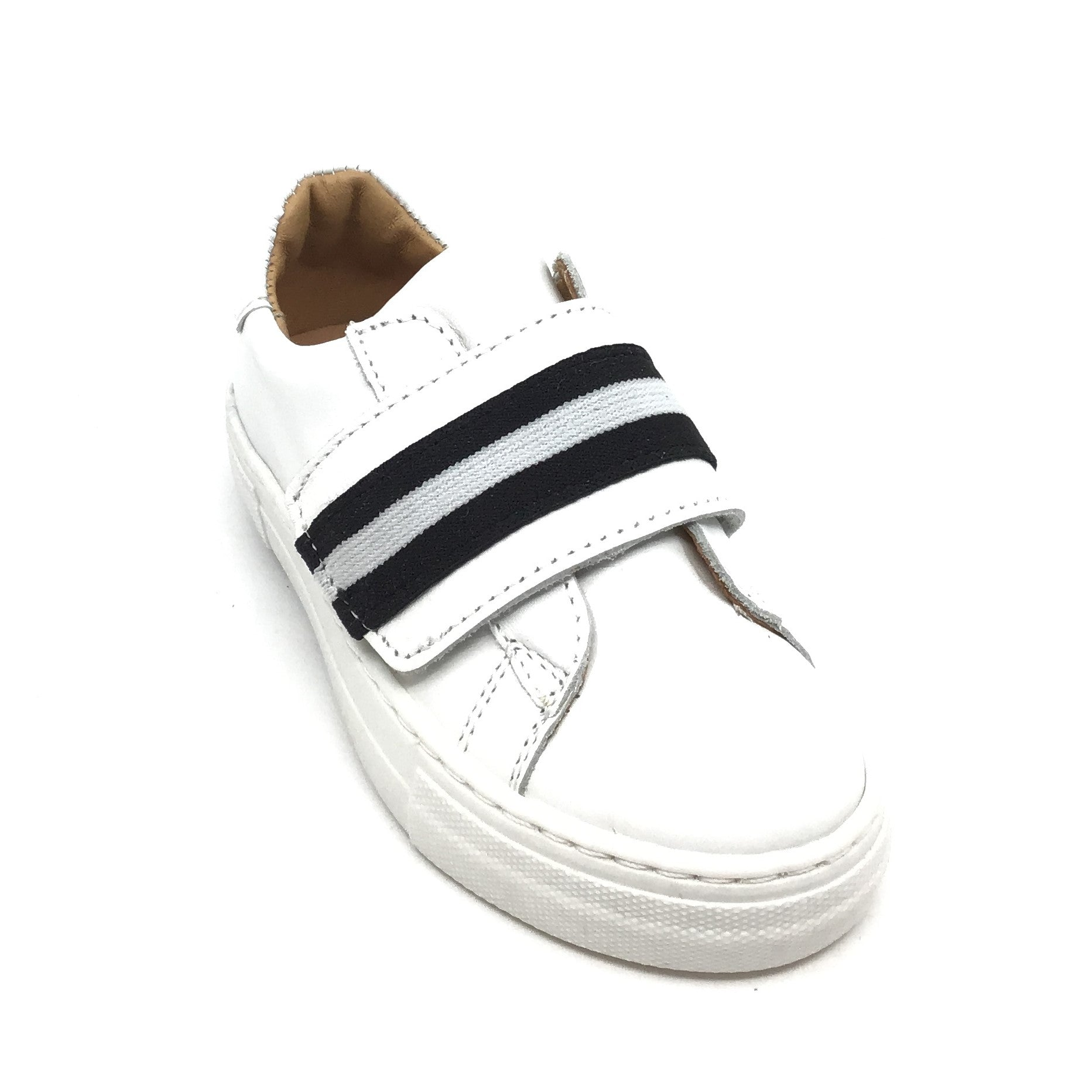 Fascani White Sneaker with Black and White Velcro