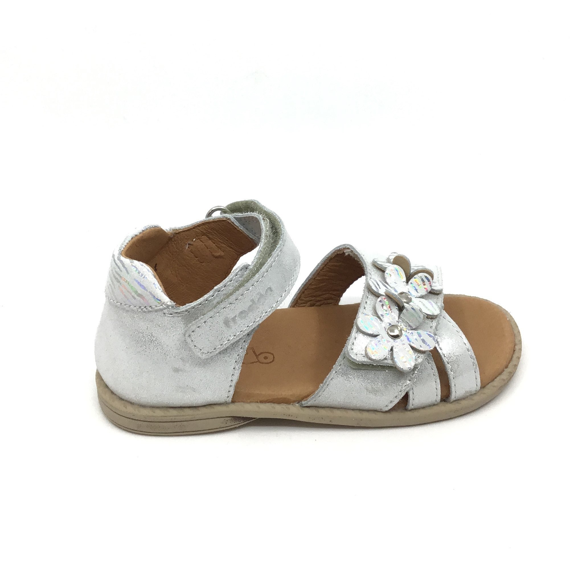 Froddo White Velcro Sandal with Silver and White Flowers