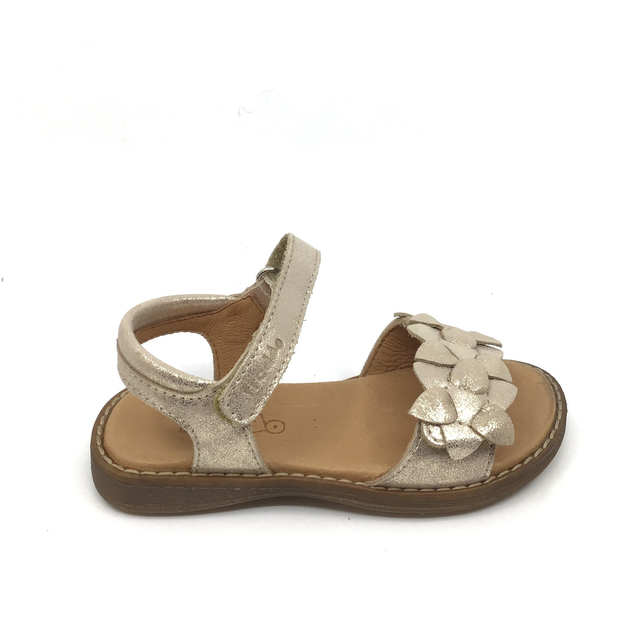 Froddo Gold Velcro Sandal with Flowers