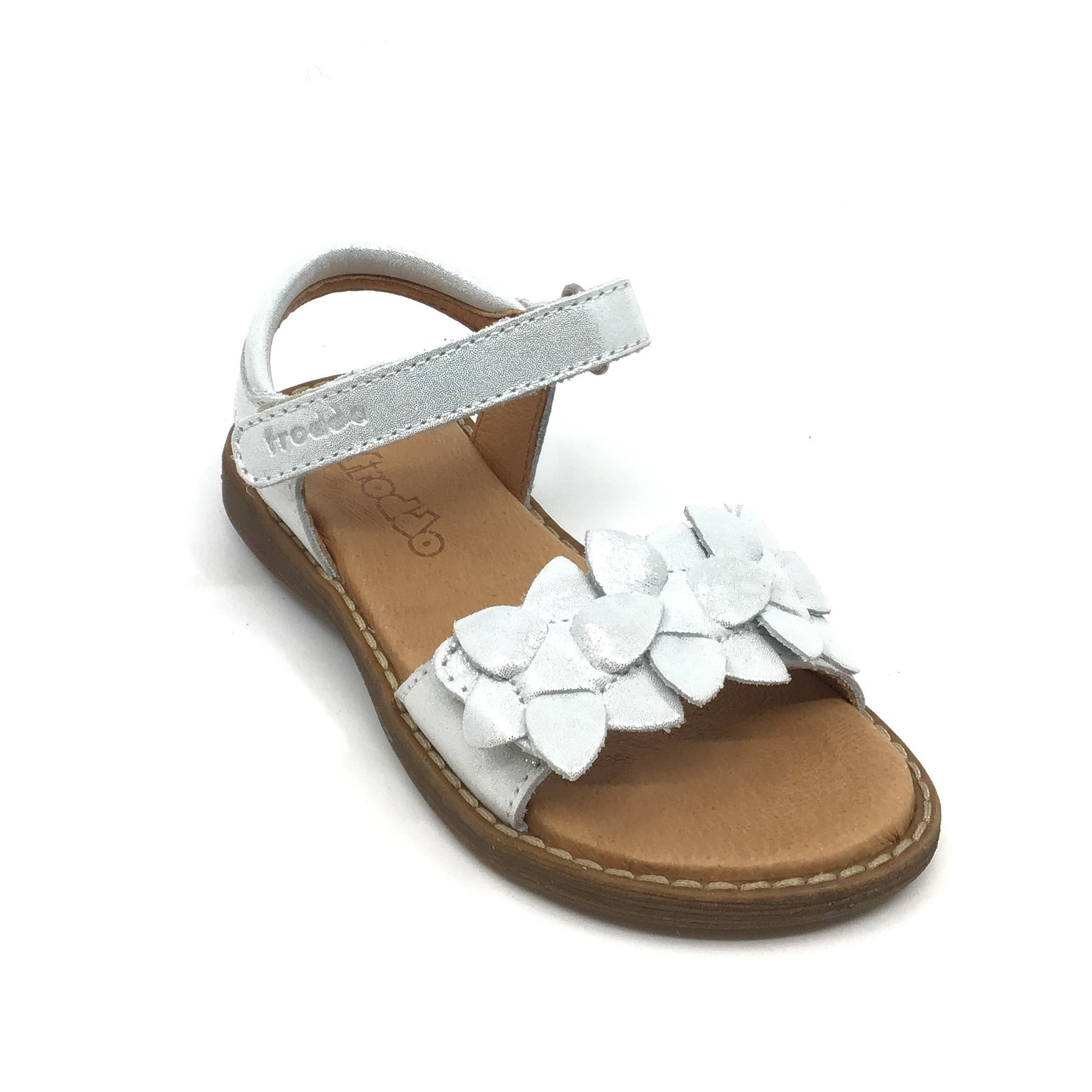 Froddo White Velcro Sandal with White Flowers