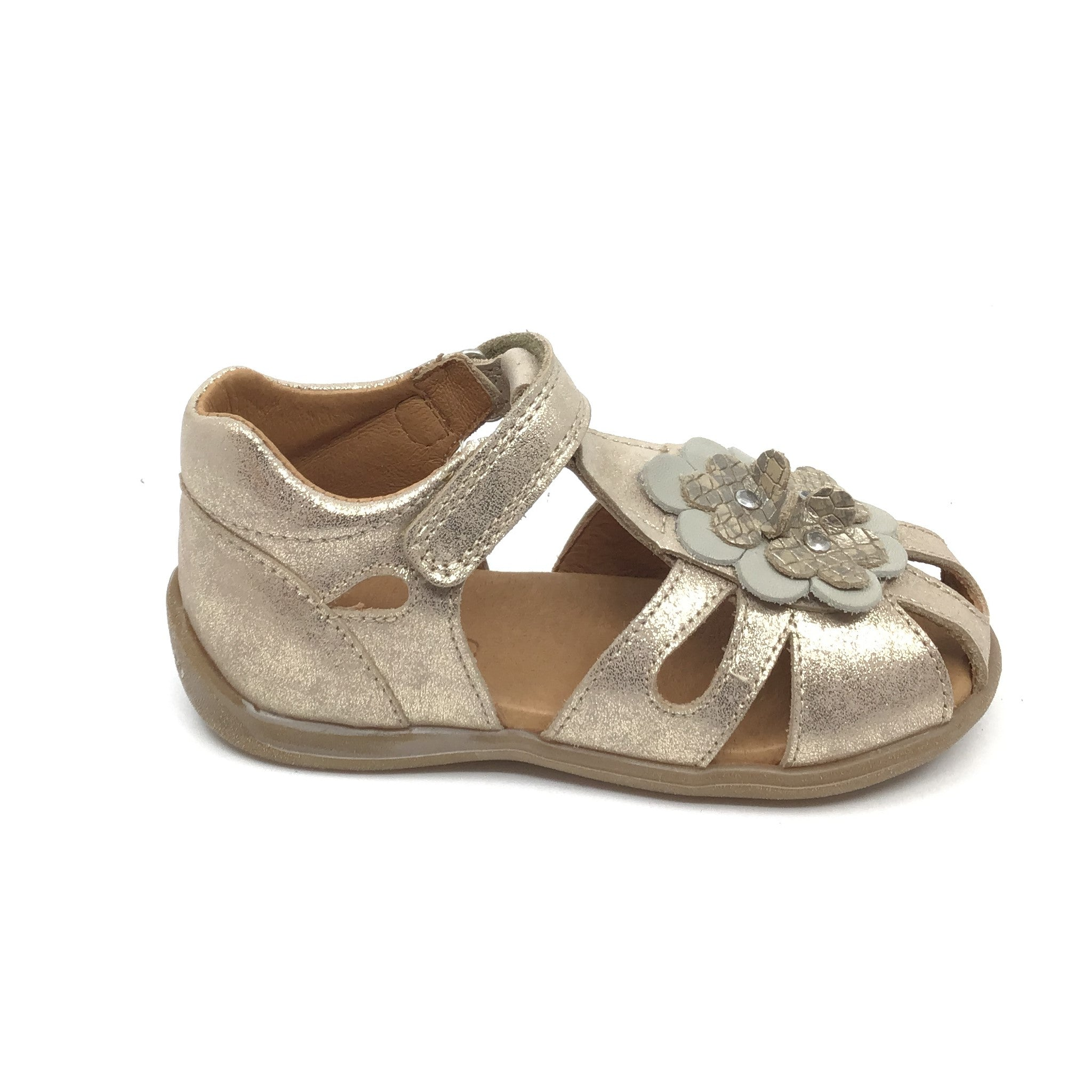 Froddo Gold Enclosed Velcro Sandal with Flower