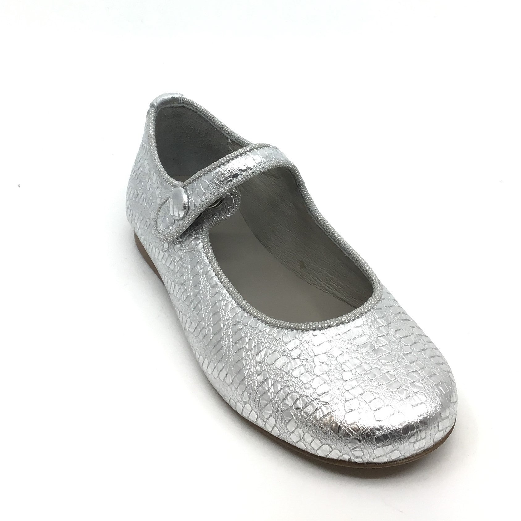 Luccini Silver Texture Mary Jane