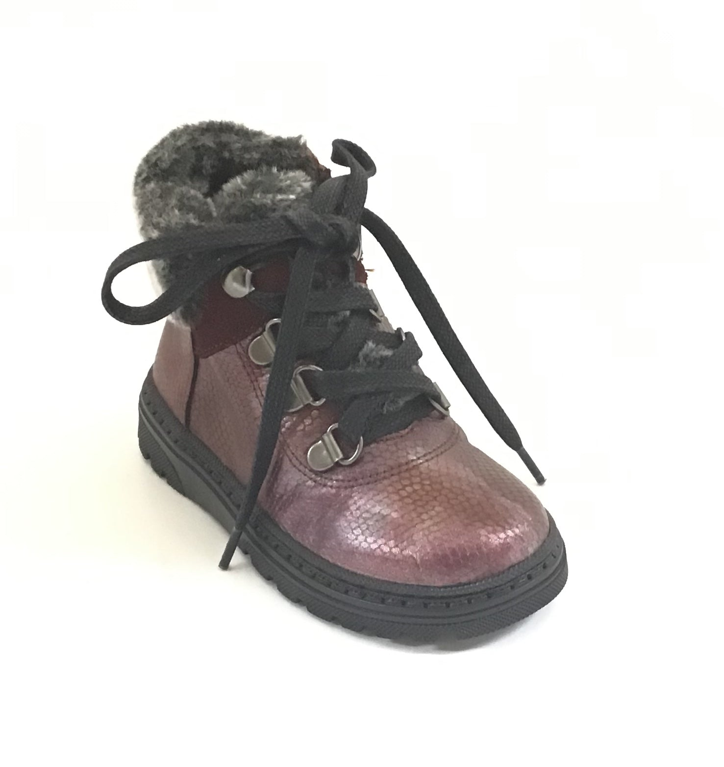 Blublonc Maroon Bootie With Gray Fur Trim