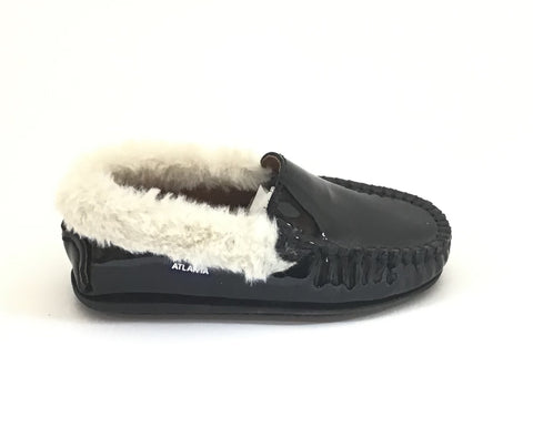 Atlanta Mocassin Black Patent Loafer With Natural Fur
