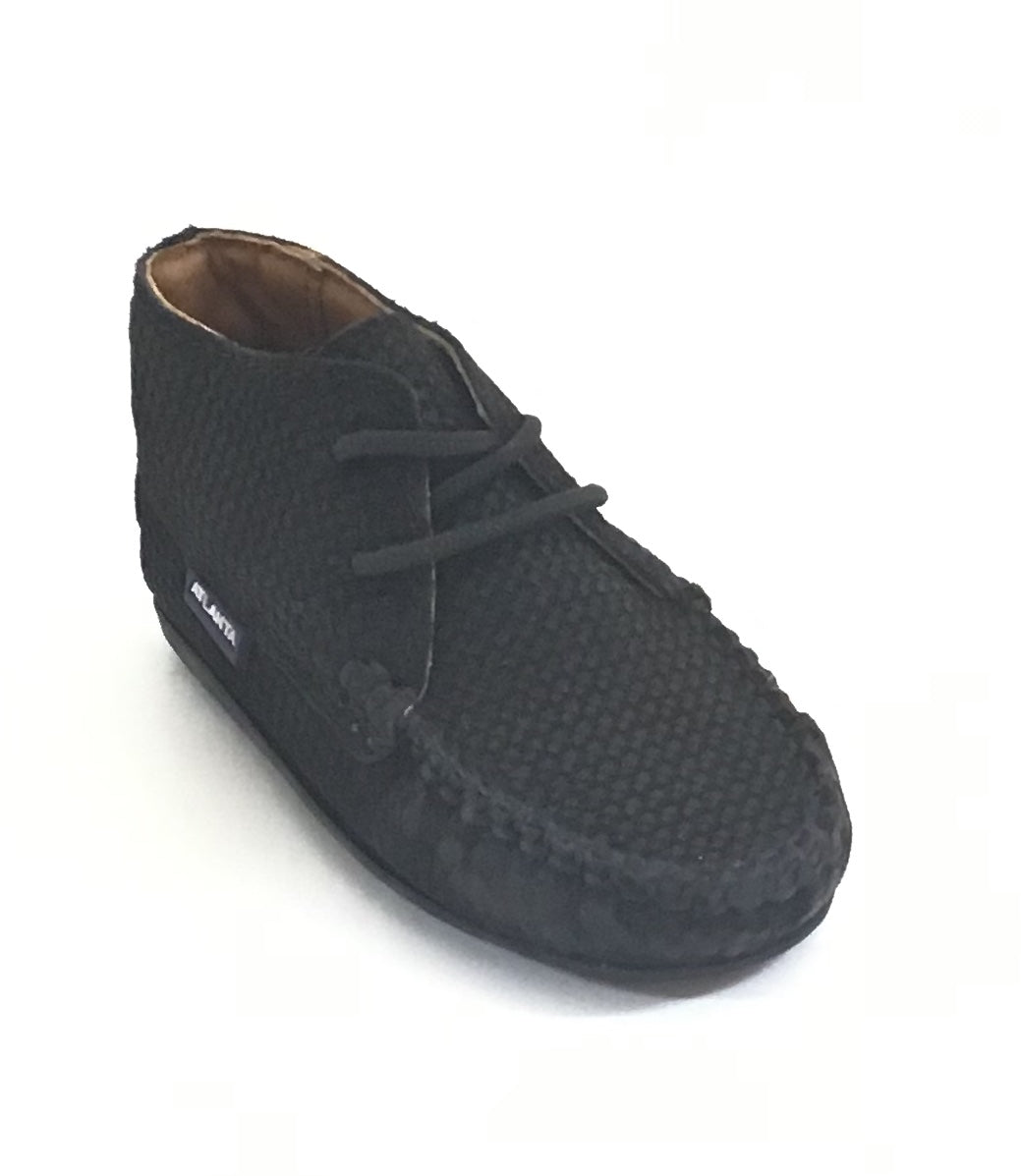 Atlanta Mocassin Black Suede Lace Up Mocassin