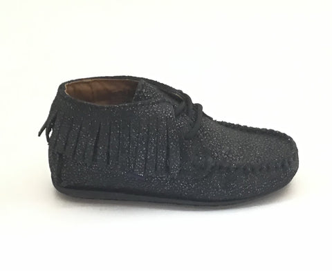 Atlanta Mocassin Black Fringe Lace Up Mocassin