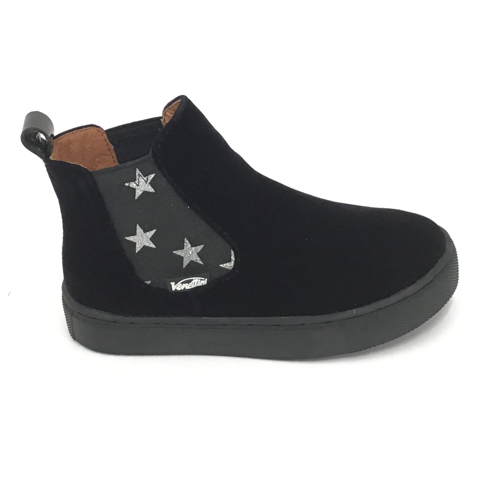 Venettini Black Velvet Bootie With Stars