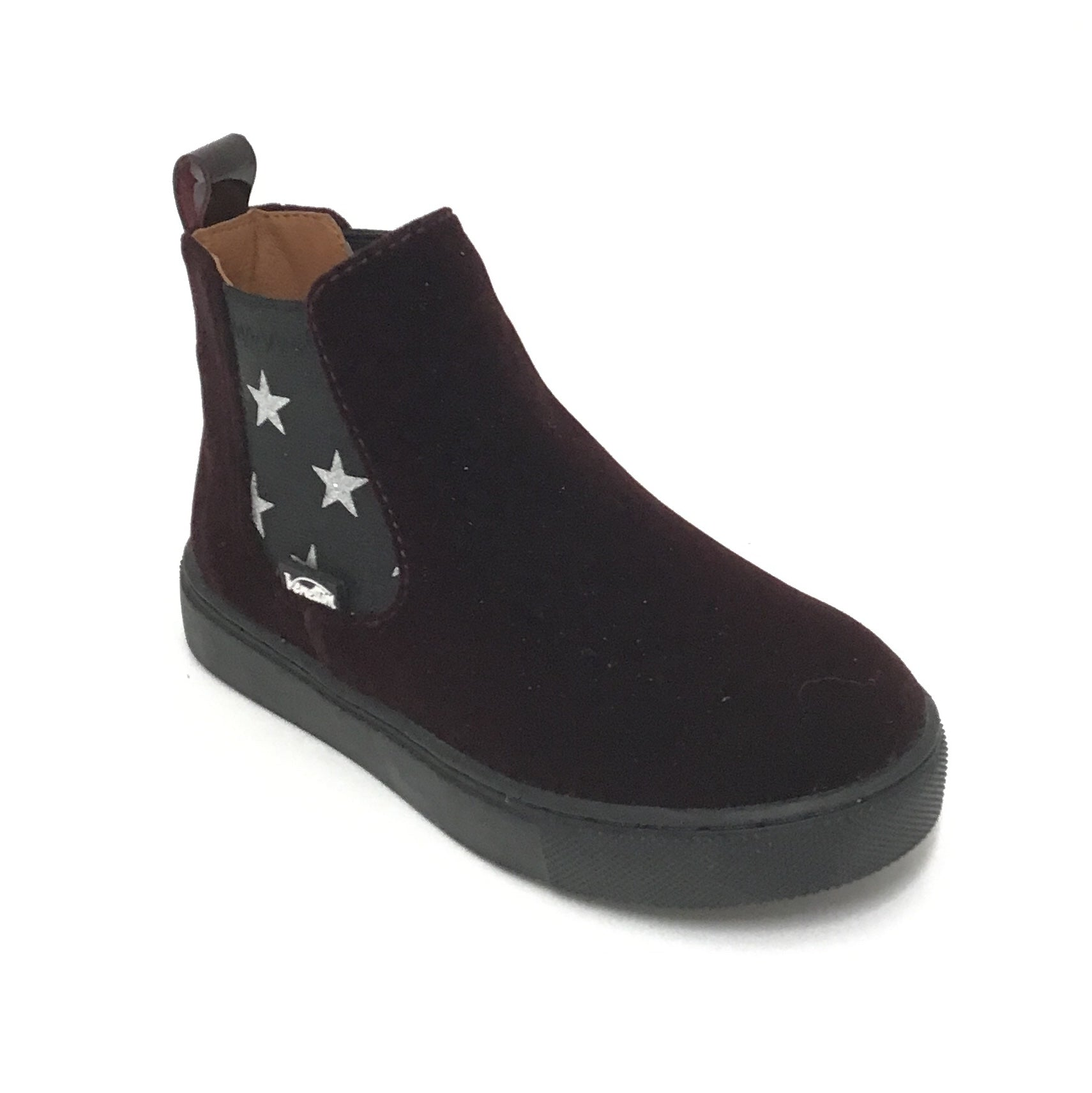 Venettini Bordeaux Velvet Bootie With Stars