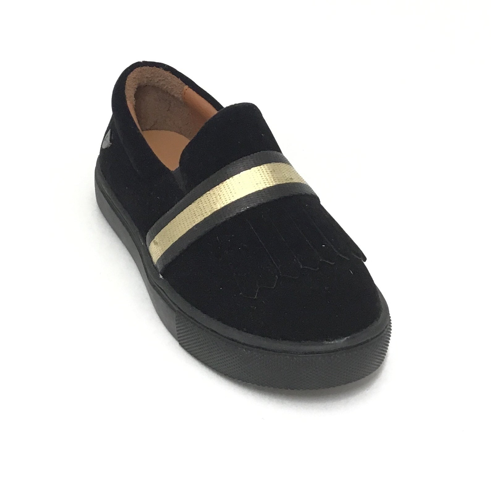 Venettini Black Velvet Sneaker With Gold Band