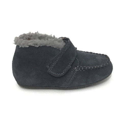 Venettini Navy Suede Bootie With Gray Wool
