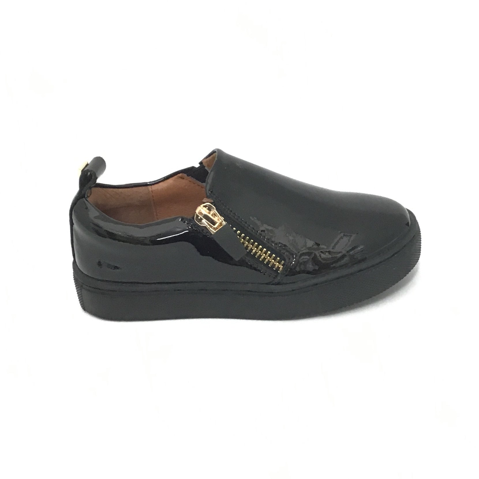 Venettini Black Patent Sneaker With Side Zippers