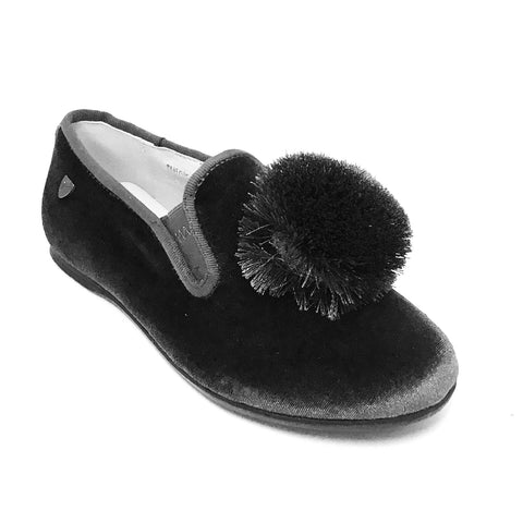 Venettini Gray Velvet Shoe With Pom Pom