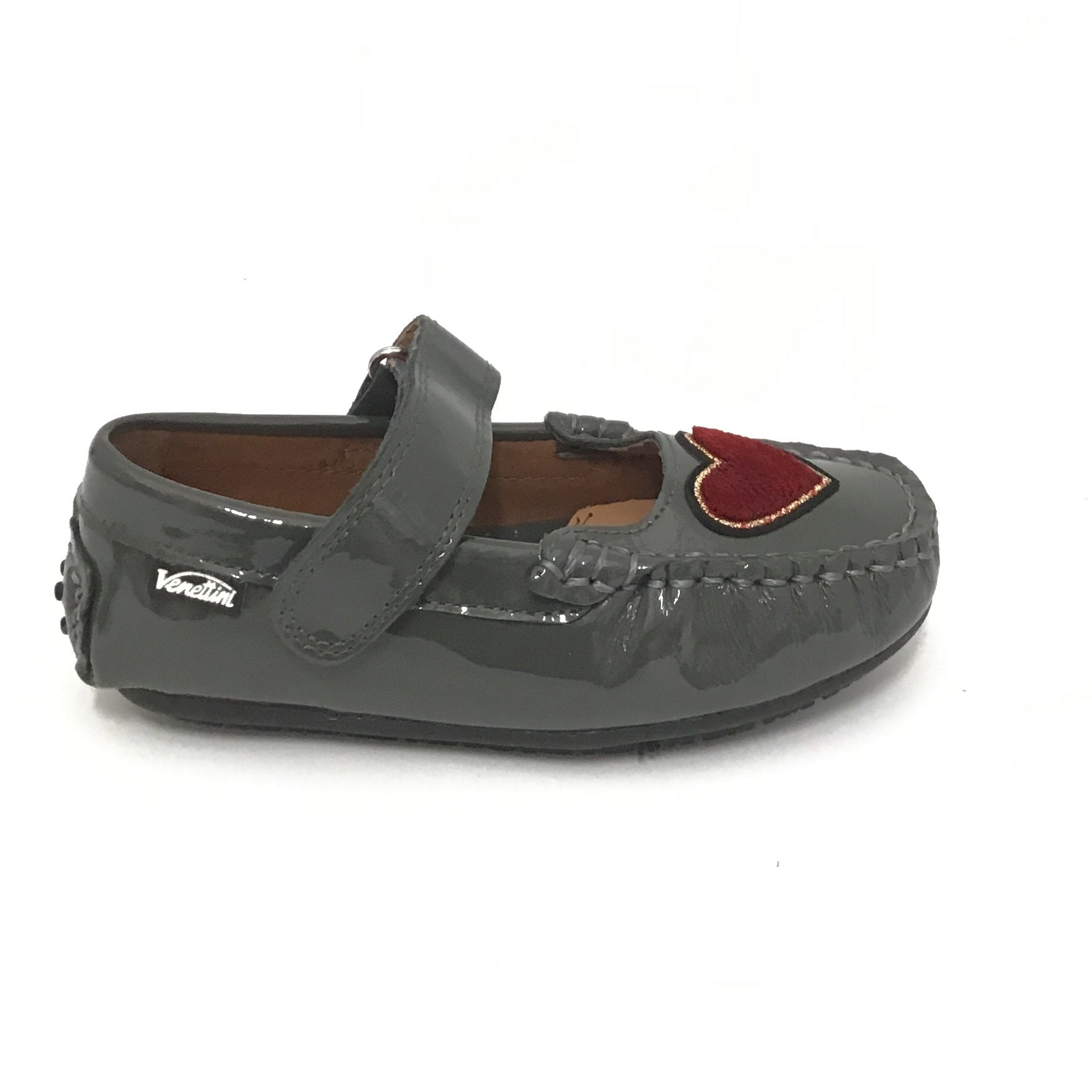 Venettini Gray Patent Shoe With Red Heart