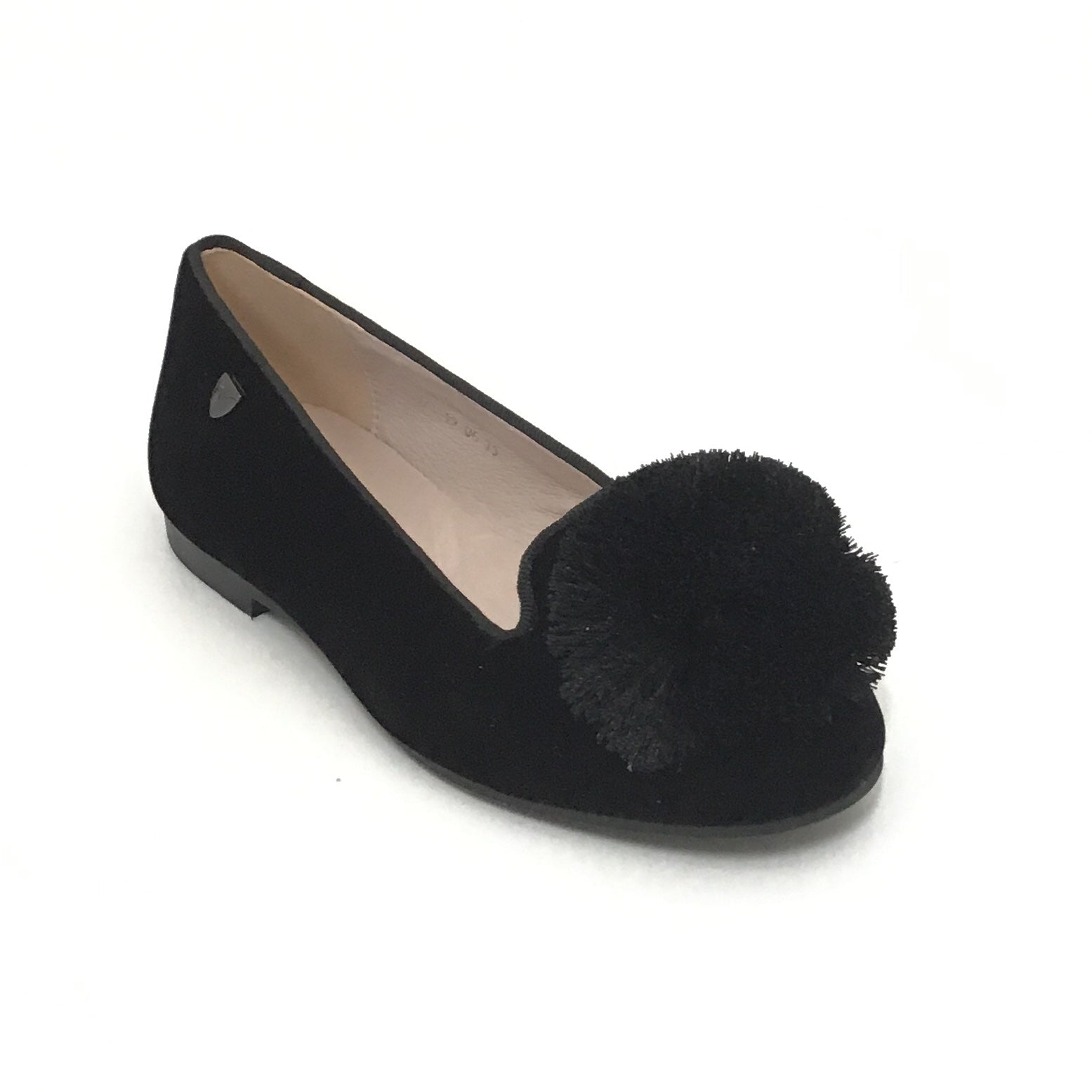 Venettini Black Velvet Shoe With Pom Pom
