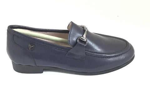 Venettini Navy Leather Shoe With Chain