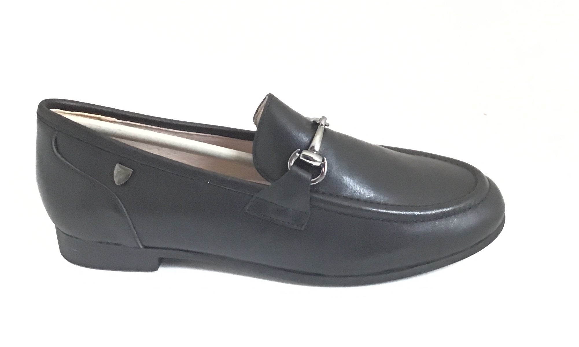 Venettini Black Leather Shoe With Chain
