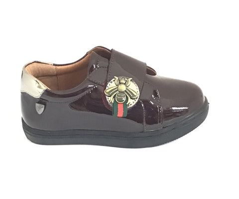 Venettini Bordeaux Patent Shoe with Bee Strap