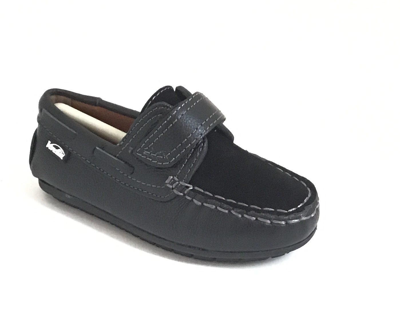 Venettini Black Velcro Loafer with Suede