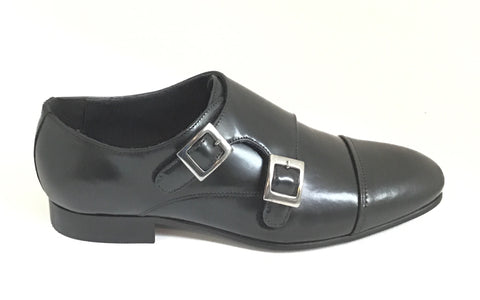 Venettini Black Double Buckle Dress Shoe