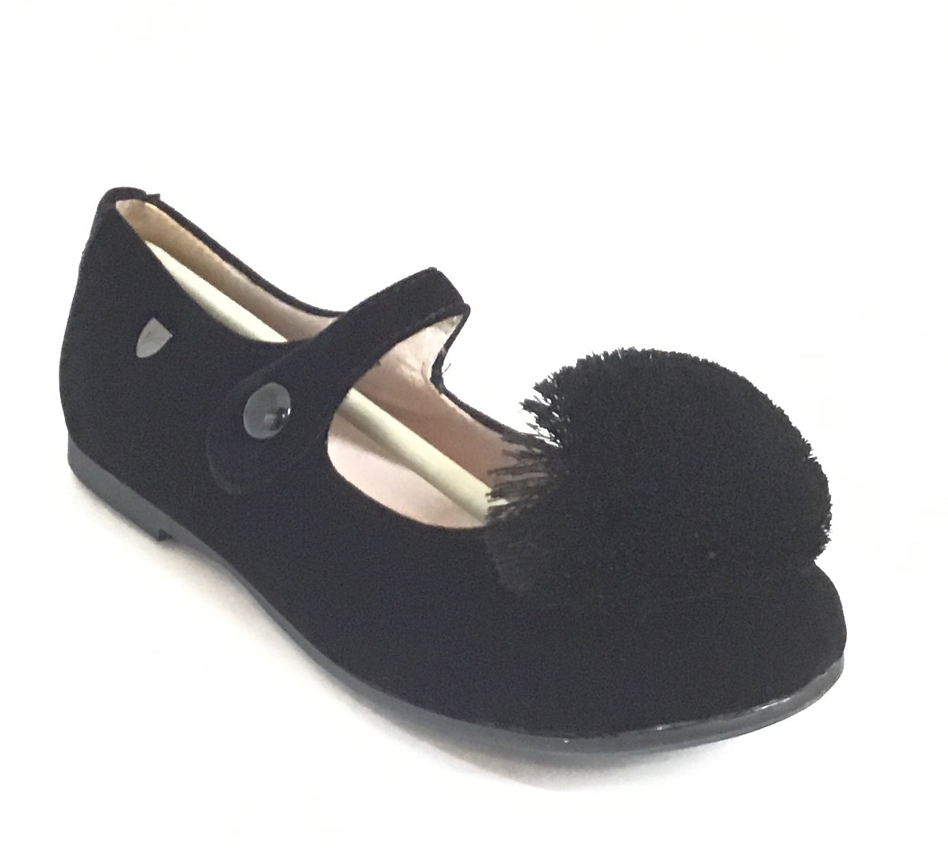 Venettini Black Velvet Mary Jane With Pom Pom